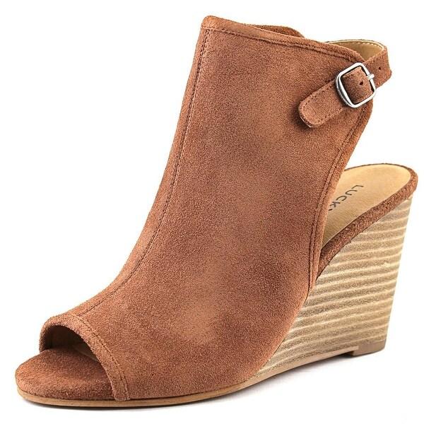 Lucky Brand Risza Women Open Toe Suede Wedge Heel