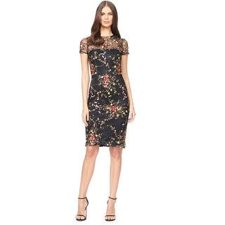 David Meister Embroidered Floral Lace Short Sleeve Cocktail Evening Dress