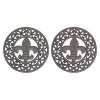 Set of 2 Distressed Finish Cast Iron Fleur de Lis 10 Inch Table Trivets