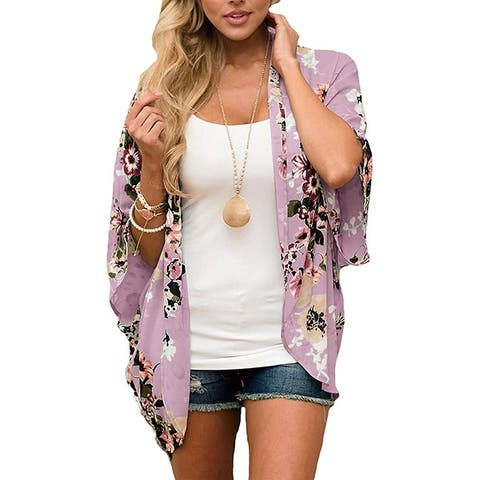 Haute Edition Women's Lightweight Summer Kimono Cardigan Cover Up in Leopard and Floral