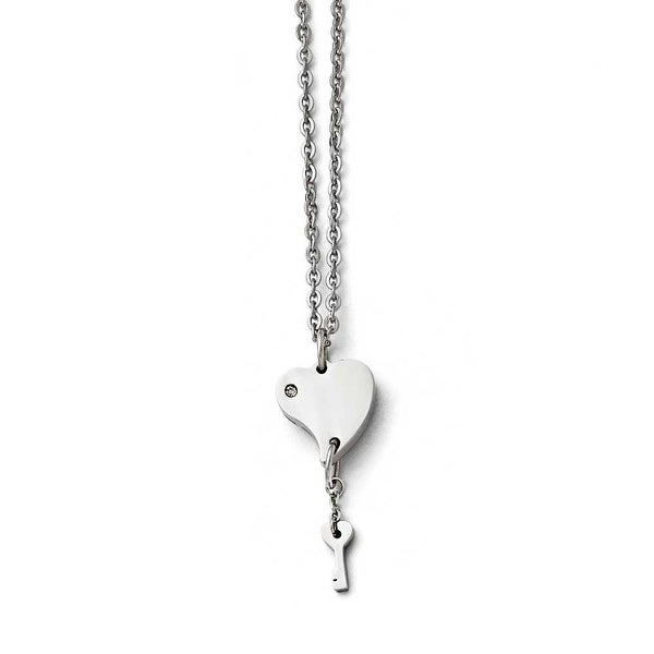 Chisel Stainless Steel Polished Heart with CZ and Key Necklace - 18 in