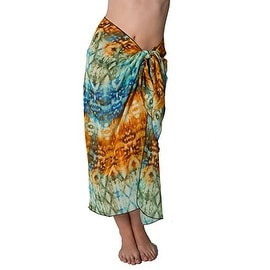 Long Batik Print Swimsuit Sarong Cover up with Built in Ties One Size