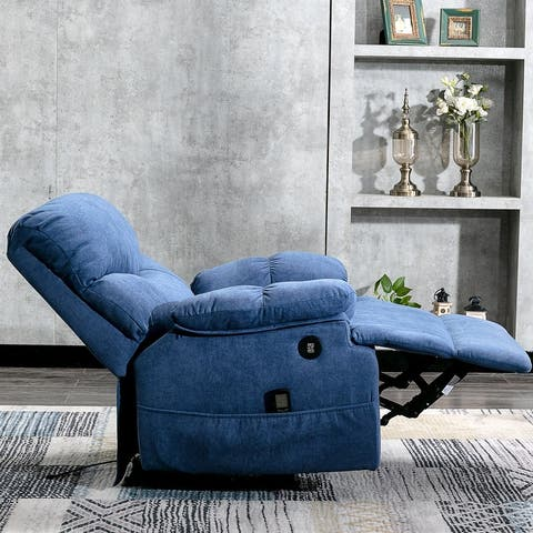Powered Overstuffed Pillow & Armrest Recliner Chair Sofa with 8 Point Remote Control Massage