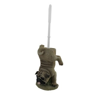 Potty Puppy Funny Pug Dog Toilet Brush and Holder Set - brown
