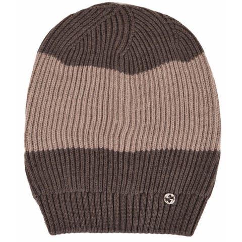 Gucci 310777 Men's Wool Brown Beige Interlocking GG Slouchy Beanie Hat - One Size Fits most