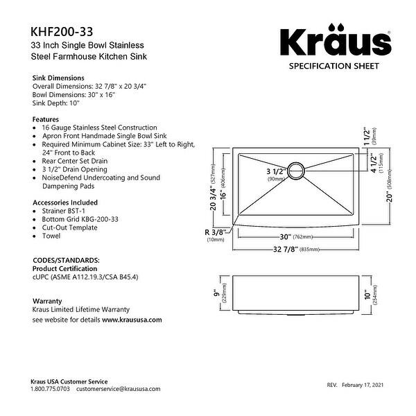 KRAUS Standart PRO Stainless Steel 33 in 1-Bowl Farmhouse Kitchen Sink