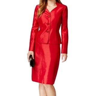 Le Suit NEW Red Crimson Women's Size 8 Three-Button Skirt Suit Set