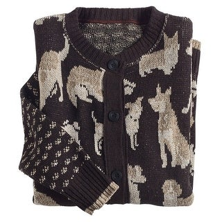 Women's Dogs Cardigan Sweater - Relaxed Fit Mid-Weight Knit Brown