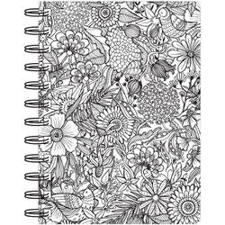 """Floral - Hall Pass Adult Coloring Spiral Bound Notebook 6""""X8.25"""""""