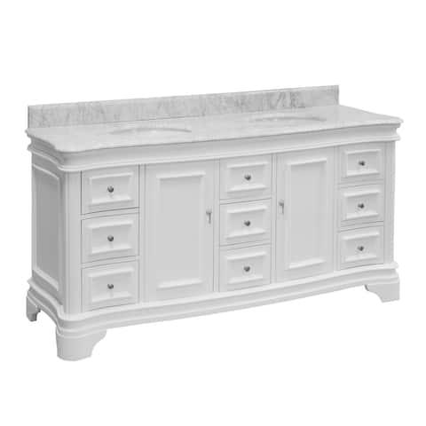 "KitchenBathCollection Katherine 72"" Double Bathroom Vanity with Carrara Marble Top"