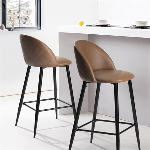 """AOOLIVE 2PCS 37.8""""H Bar Stools, Pub Kitchen Chairs (Set of 2), Brown"""