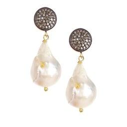 Genuine Diamond and Fresh Water Pearl Drop Earrings in Sterling Silver