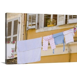 """""""Laundry hanging from balcony in Old Town"""" Canvas Wall Art"""