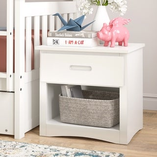 Hunter 1-Drawer White Wood Nightstand by iNSPIRE Q Junior