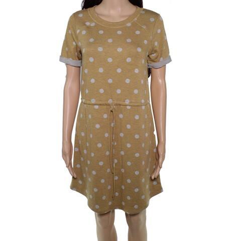 Moa Moa Sweater Dress Yellow Size XS Junior Polka Dot Drawstring