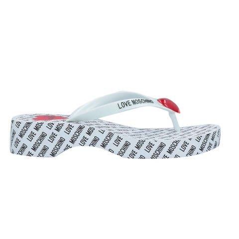 Love Moschino Womens White Logo Wedge Heeled Thong Flip Flops Sandals