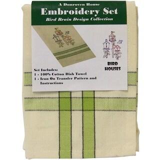 "Bird Houses Bird Brain Design Tea Towel Embroidery Kit-20""X28"""
