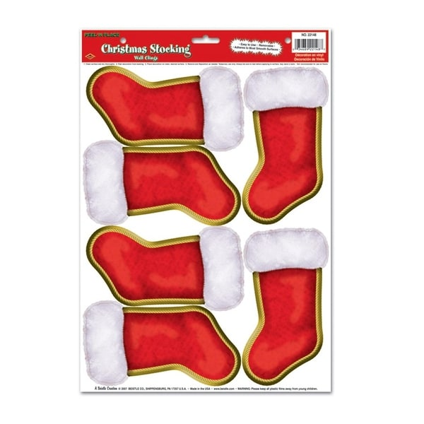 "Club Pack of 72 Christmas Stockings Peel 'N Place Wall Clings Decorations 17"" - RED"