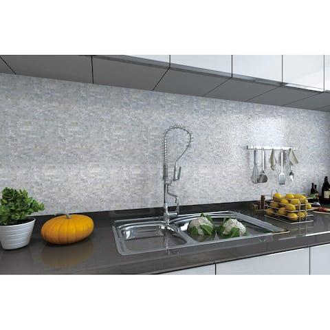 Art3d Peel and Stick Mother of Pearl Shell Tile for Kitchen Backsplash/Bathroom White Rectangle Seamless 6-Pack