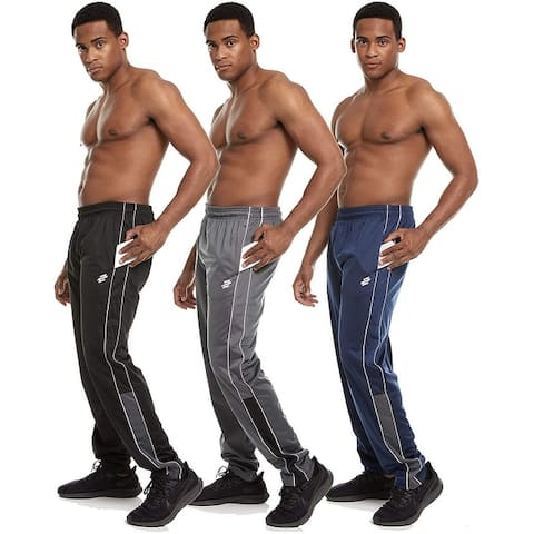 Zupo 3 Pack: Men's Active Performance Tricot Knit Track Jogging Drawstring Sweatpants with Pockets