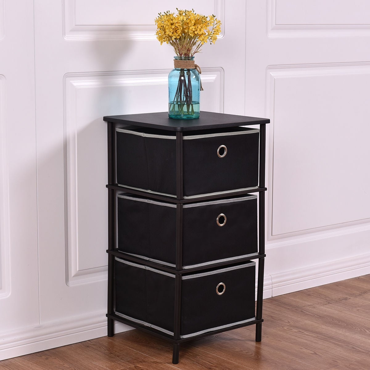 Costway Night Stand End Side Table Storage Bin Home Office Furni W 3 Storage Baskets