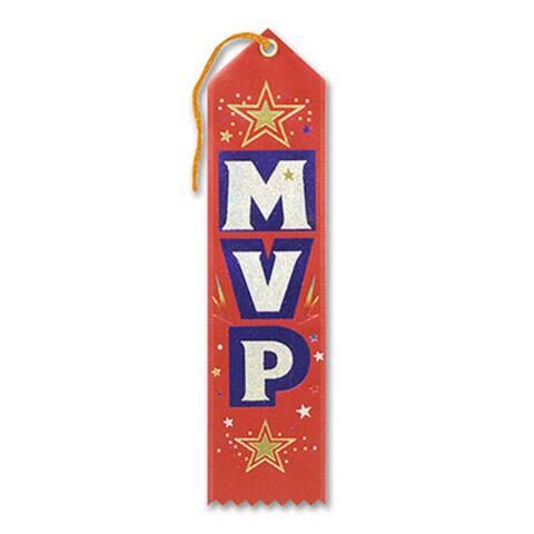 "Pack of 6 Red ""MVP Award"" School Award Ribbon Bookmarks 8"" - N/A"