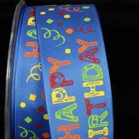 "Blue ""Happy Birthday"" Wired Craft Ribbon 1.5"" x 27 Yards"