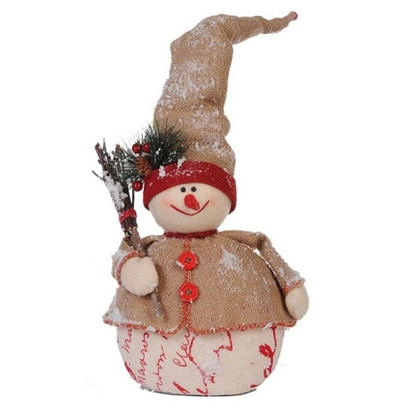 "20"" Country Cabin Jolly Snowman with Twig Broom Christmas Table Top Decoration"