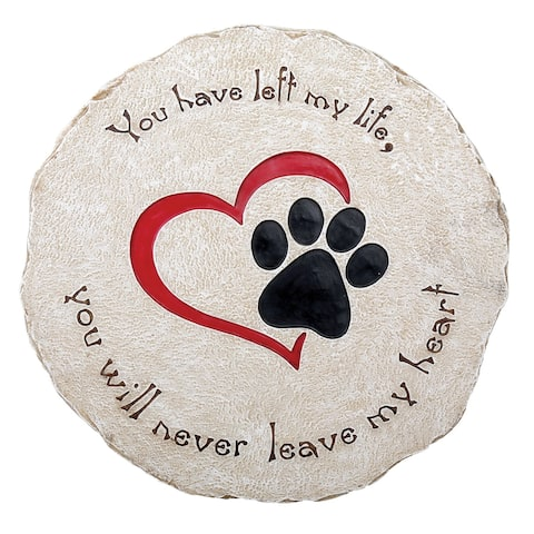 Pawriffic Round Pet Memorial Garden Stone - Headstone Grave Marker Indoor/Outdoor Heart & Paw Print Plaque for Dog or Cat