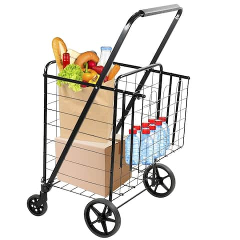 Mount-It! Rolling Utility Shopping Cart for Groceries and Other Supplies - Black