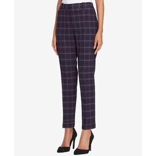 Tahari by ASL NEW Purple Women's Size 10 Plaid Print Skinny Dress Pants