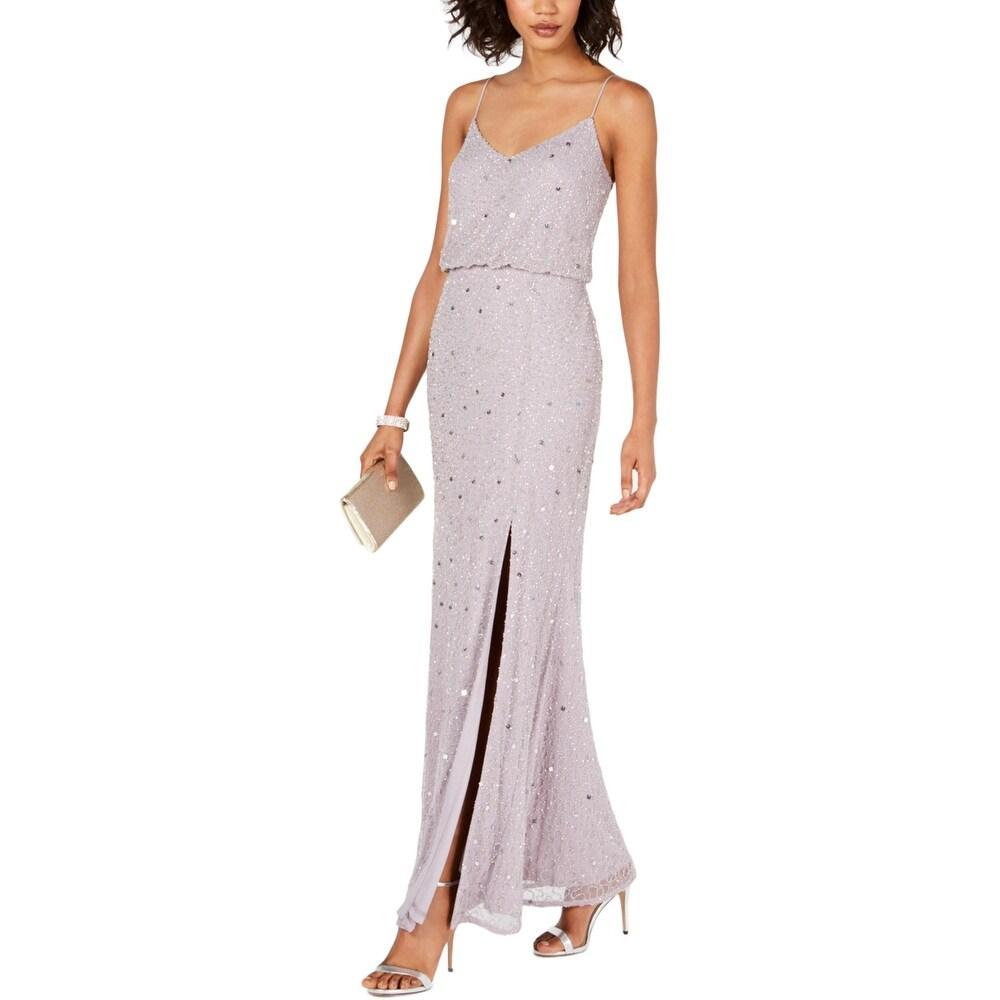 Adrianna Papell Womens Evening Dress Beaded Blouson - Lilac Grey