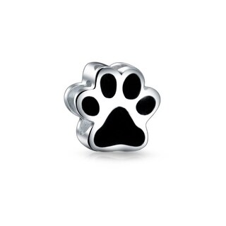 Puppy Cat Paw Print Bead Charm Dog Animal Black Enamel Heart Detail 925 Silver