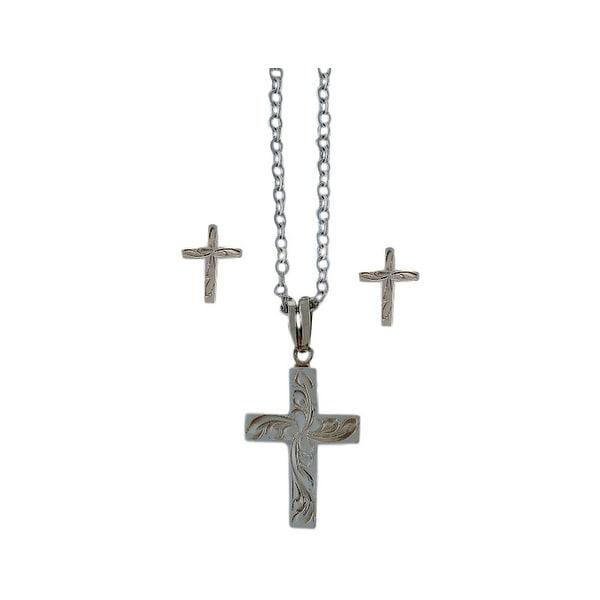 Bar V Western Women Necklace Earrings Engrave Cross Silver 310-079