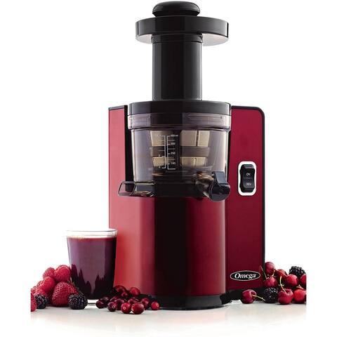 Omega VSJ843QR Vertical Slow Juicer,43 Revolutions/min,150-Watt,Red