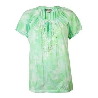 JM Collection Women's Embroidered Tie-Dyed Peasant Top - deep pacific