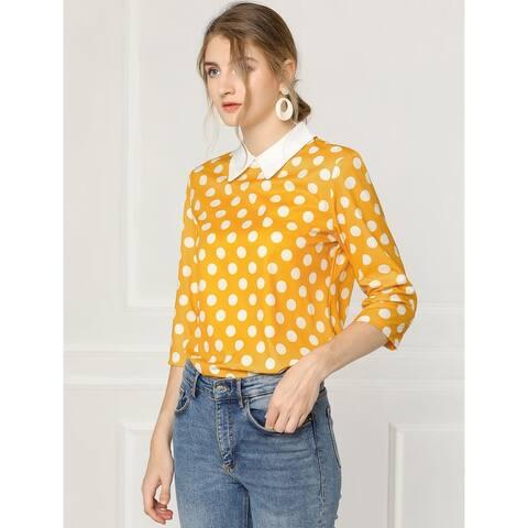 Allegra K Women 3/4 Sleeves Contrast Collar Polka Dots Blouse Top