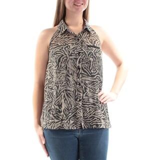 RACHEL ROY $69 Womens New 2198 Beige Black Animal Print Pocketed Top M B+B