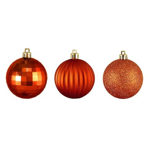 "100ct Burnt Orange Shatterproof 3-Finish Christmas Ball Ornaments 2.5"" (60mm)"