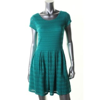 Aqua Womens Casual Dress Eyelet Cap Sleeve - s