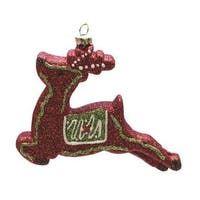 "4.75"" Merry & Bright Red, Xmas Green and White Glitter Shatterproof Reindeer Christmas Ornament - RED"