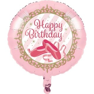 Club Pack of 10 Pink and White Happy Birthday Girl Metallic Party Balloons 8