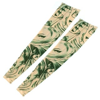 1 Pair Summer Stretchy Eye Print Sun Protection Tattoo Arm Sleeves Green Khaki