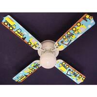 White Mighty Tonka Truck Print Blades 42in Ceiling Fan Light Kit - Multi