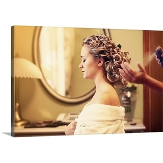 Premium Thick-Wrap Canvas entitled Young Girl Getting Her Hair Styled