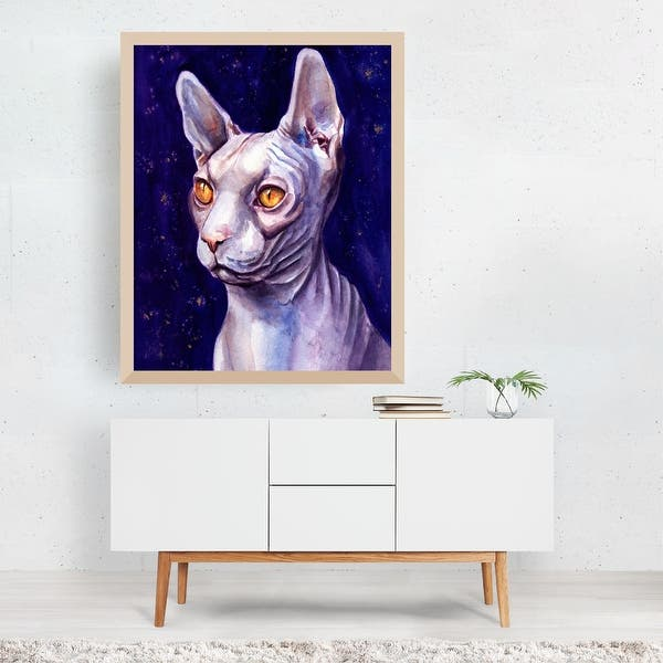 Black /& White Animal Dot Work Pointillism Wall Art Decor SPHYNX CAT PRINT