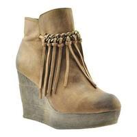 Sbicca Women's Zepp Platform Wedge Bootie Tan Faux Leather