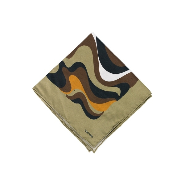 Tom Ford Men's Olive Abstract Swirl Print Pocket Square - One size