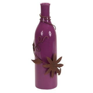 Pack of 6 Purple Ceramic Vases with Metal Floral Accent 9.75""