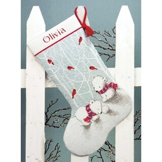 """Snow Bears Stocking Counted Cross Stitch Kit-16"""" Long 14 Count"""